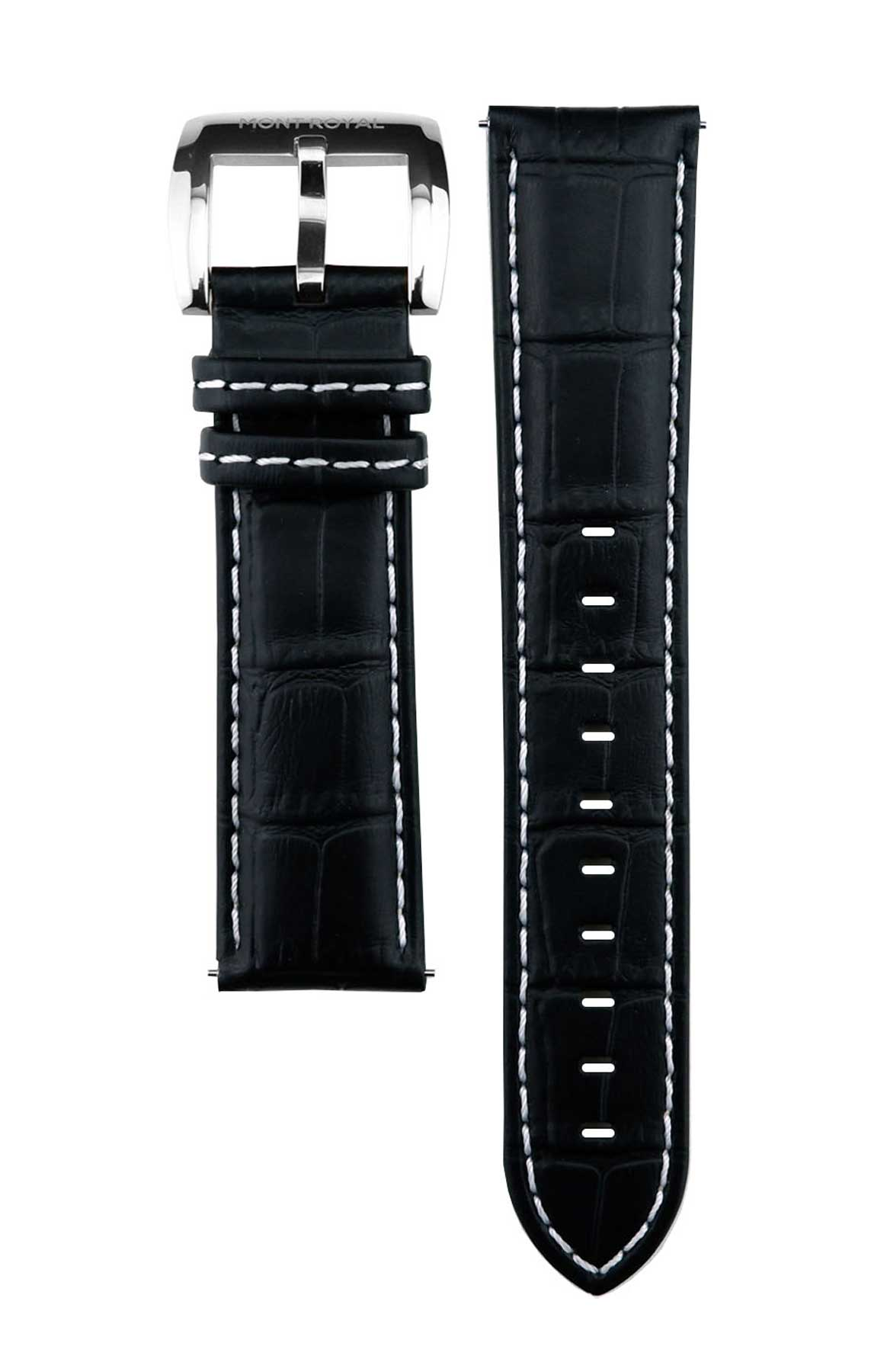 22mm Black Croc Leather (Silver)