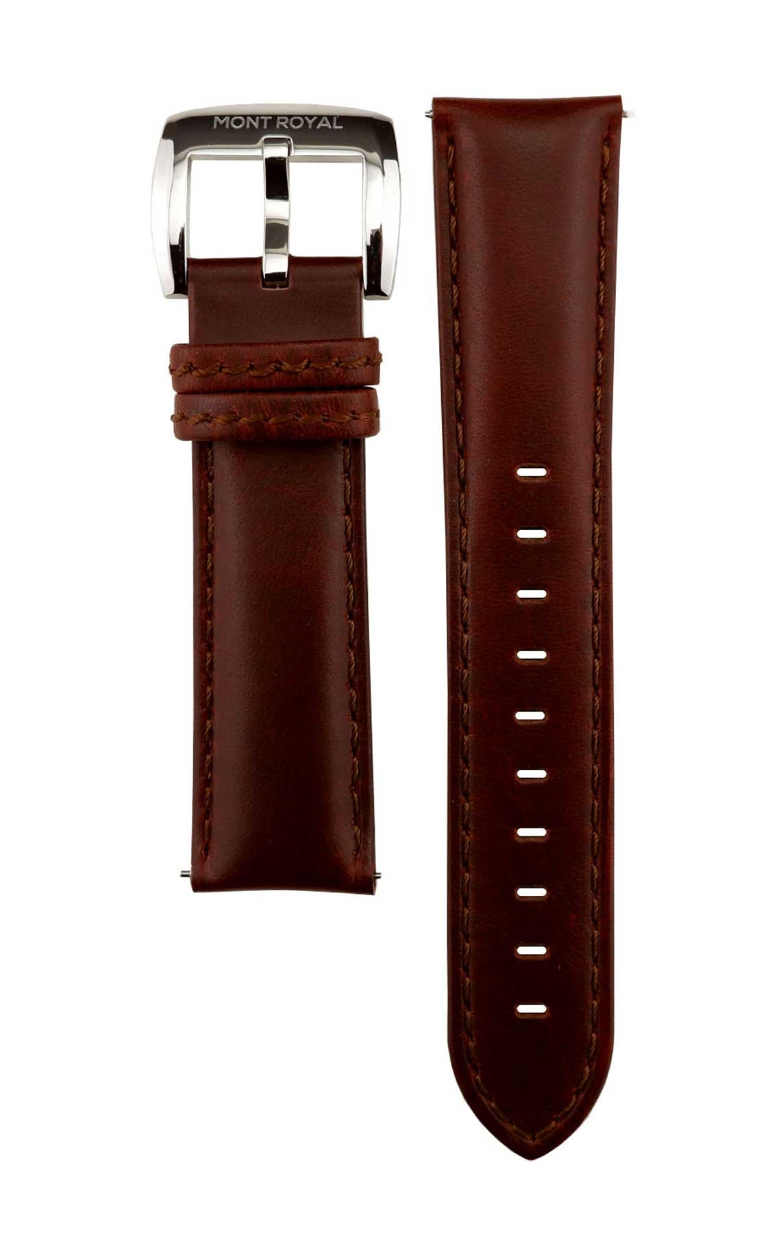 22mm Brown Leather (Silver)