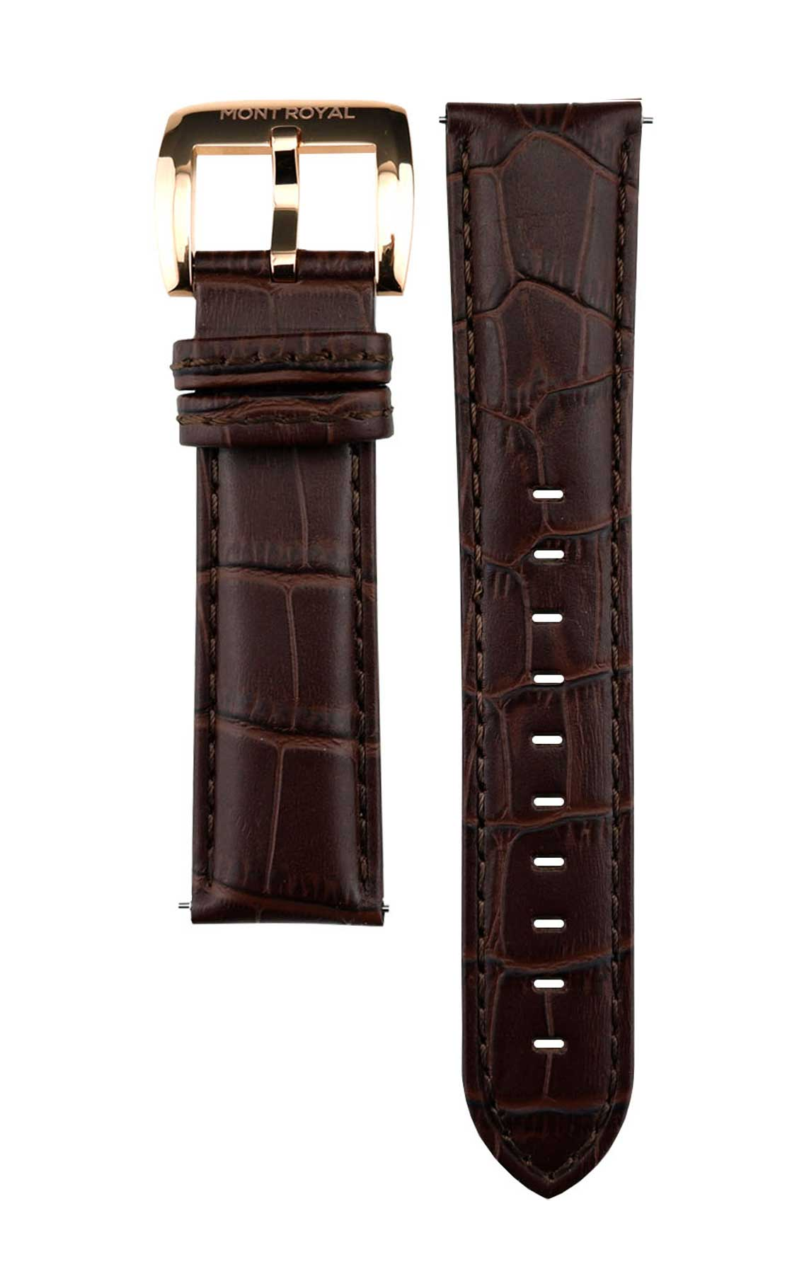 22mm Brown Croc Leather (Rose-Gold)