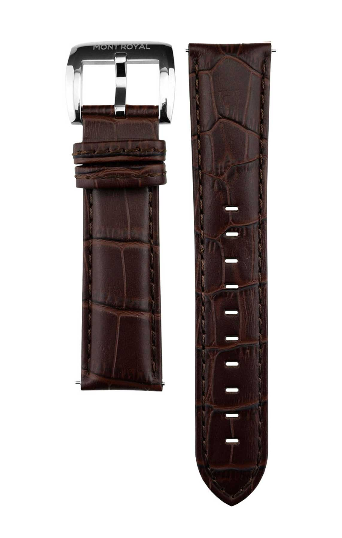 Brown Croc Leather (Silver)
