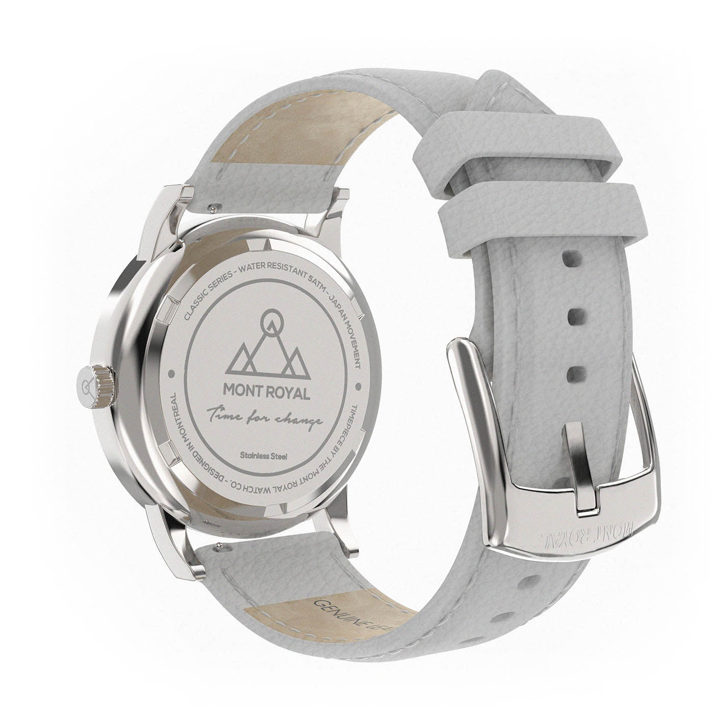 Silver + Pearl Leather Classic Watch