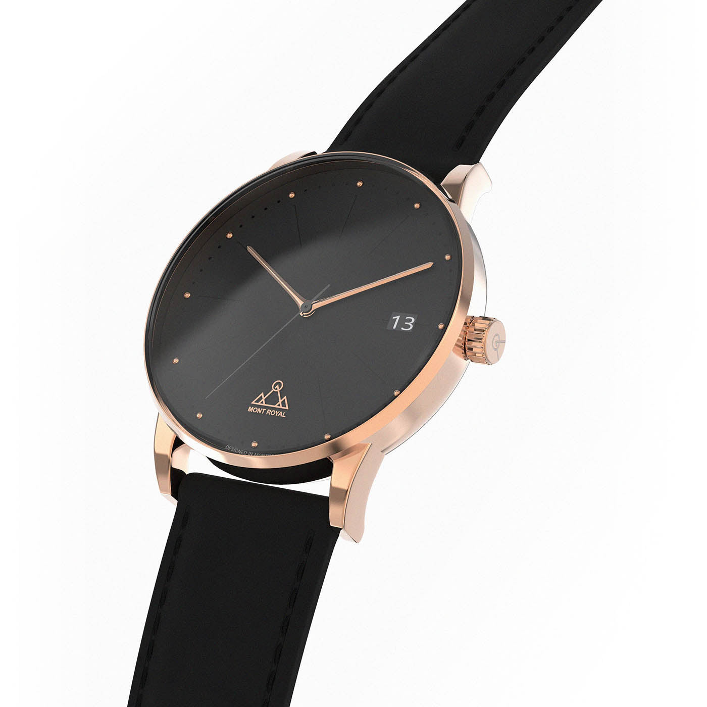 Rose-Gold Black + Black Leather
