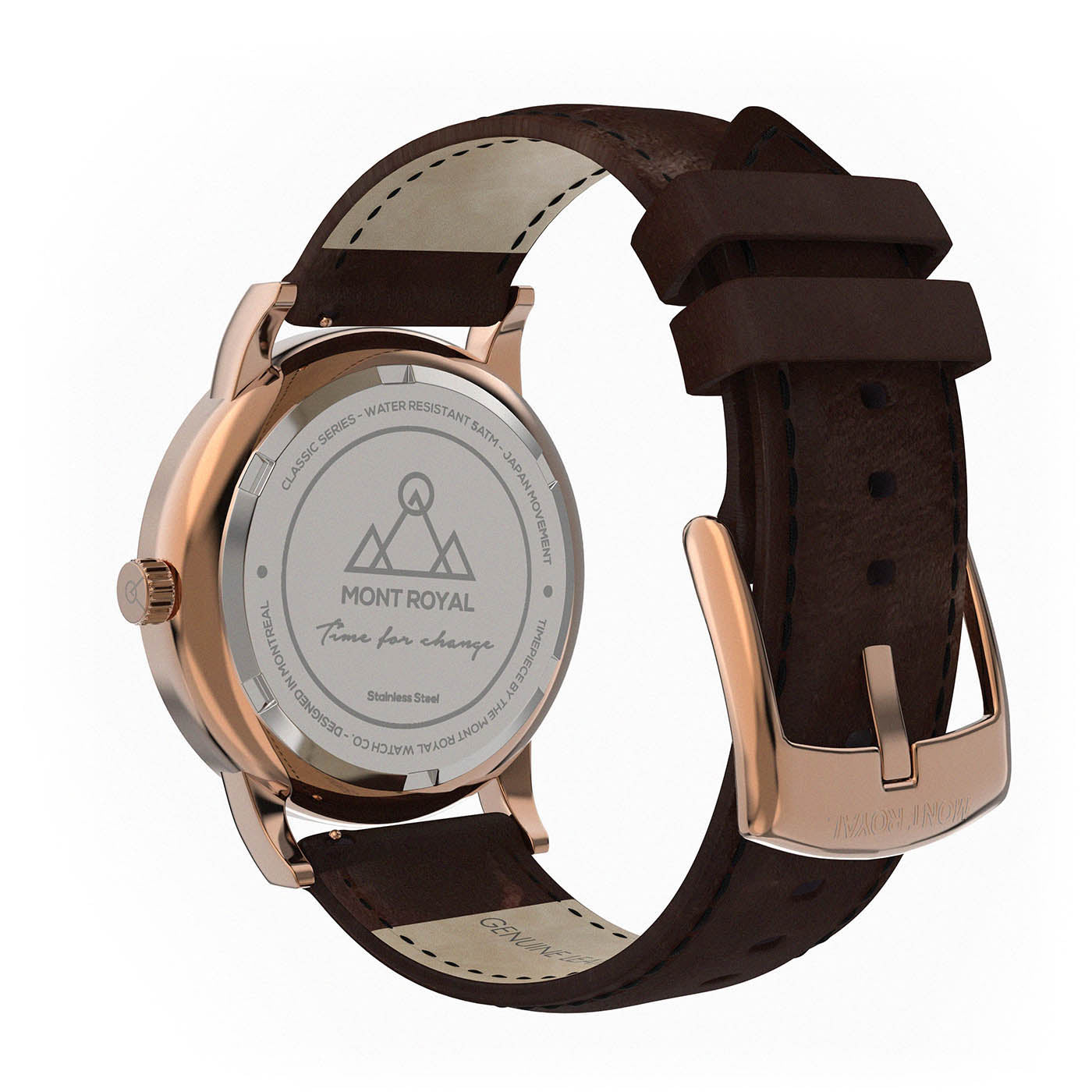 Rose-Gold Black + Brown Leather Classic Watch