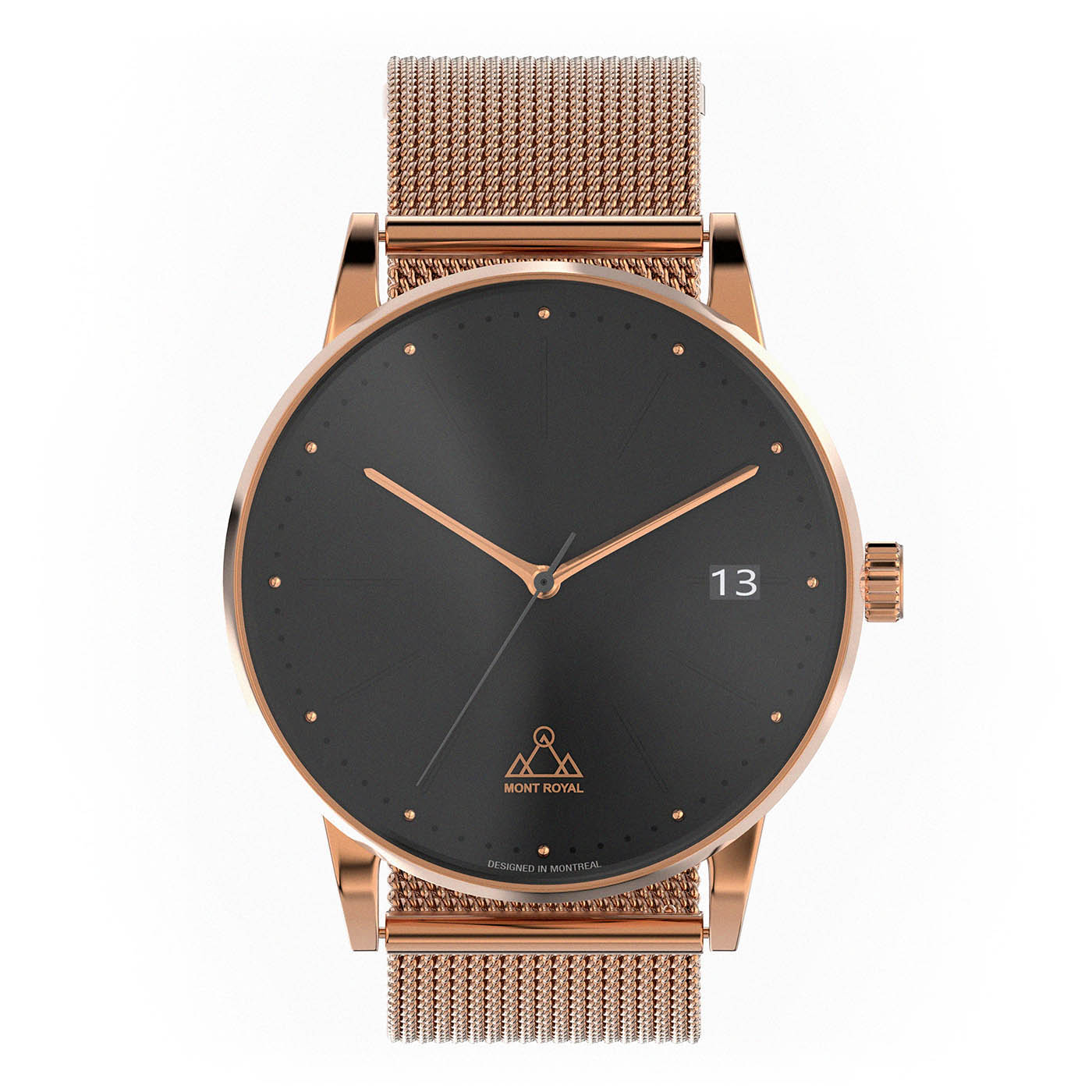 Rose-Gold Black + Steel Mesh