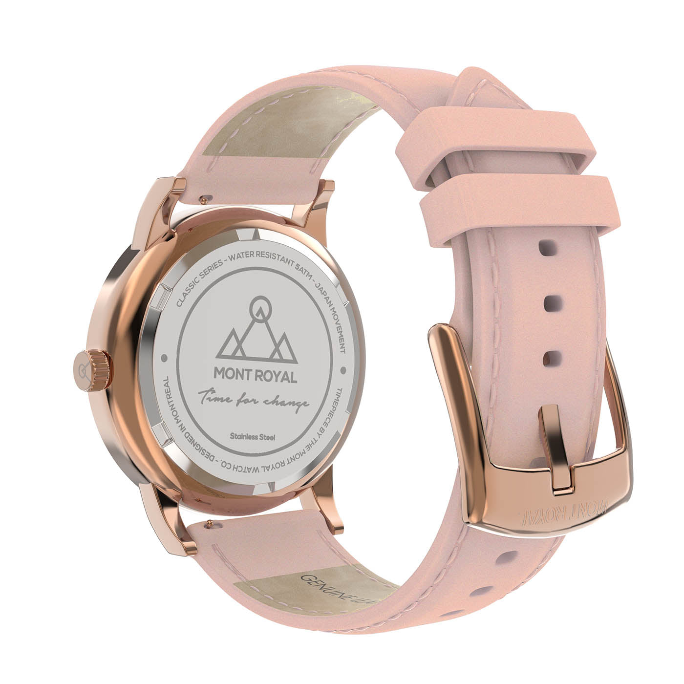 Coral + Pink Leather Classic Watch