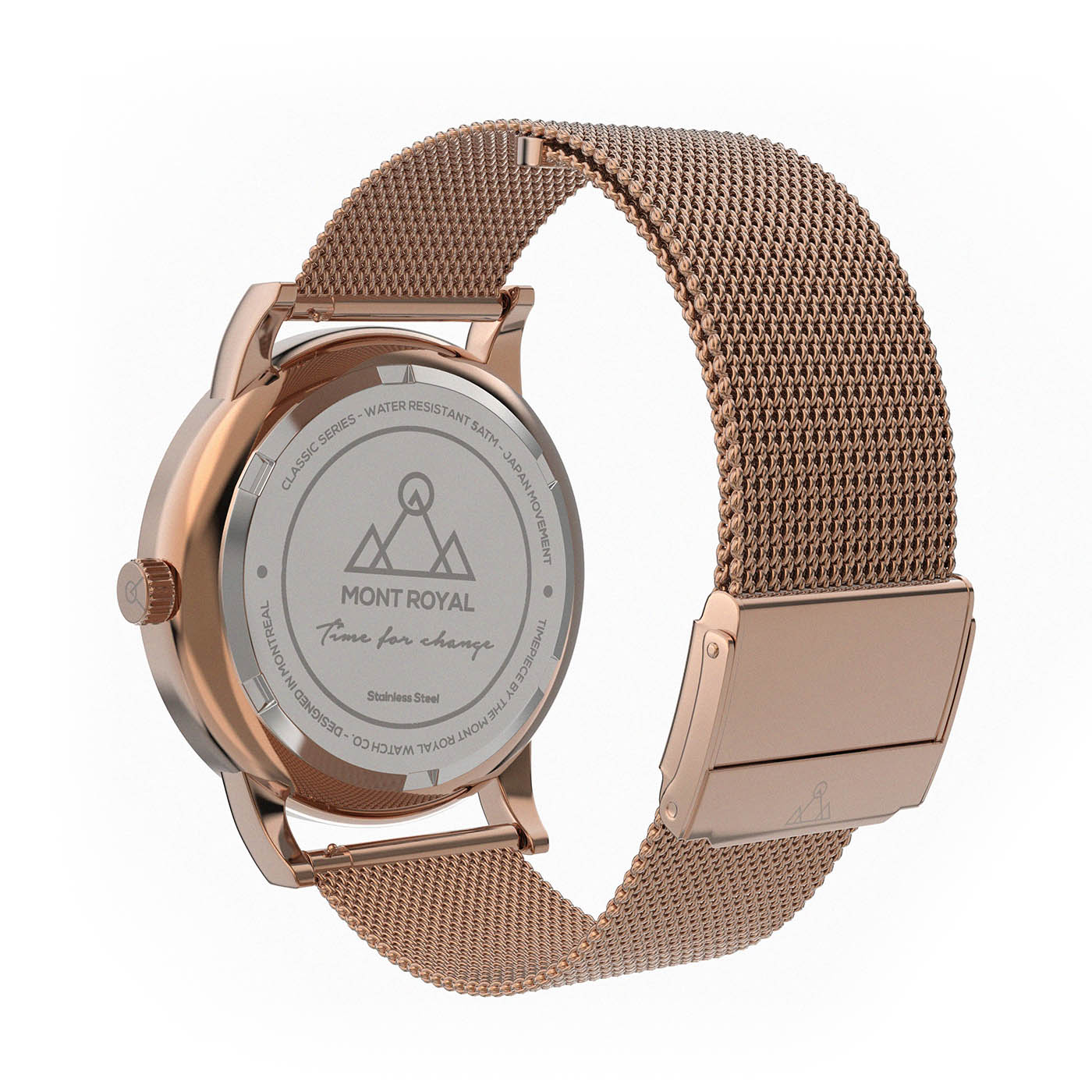 Coral + Steel Mesh Classic Watch
