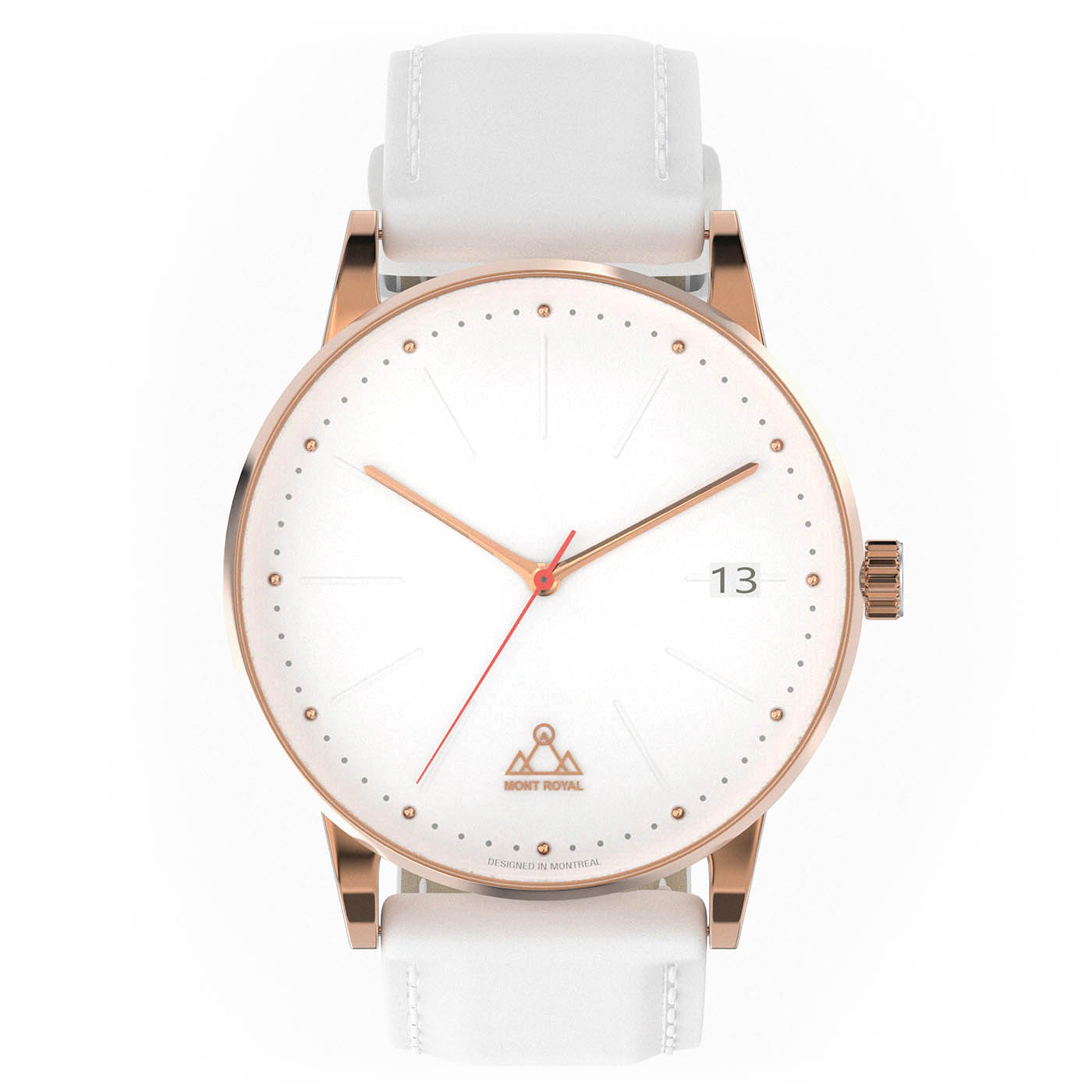 Coral + White Leather Classic Watch