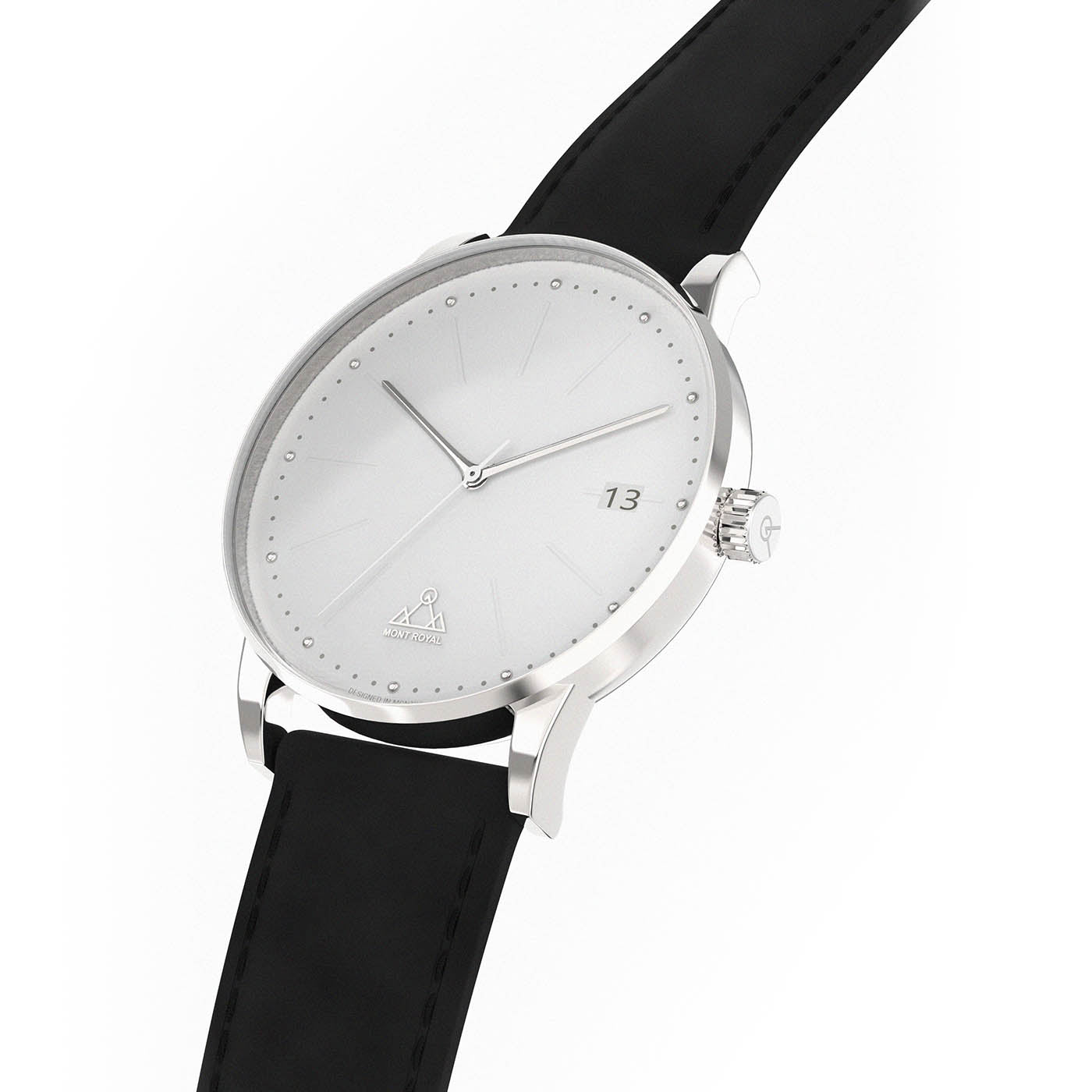 White + Black Leather Classic Watch