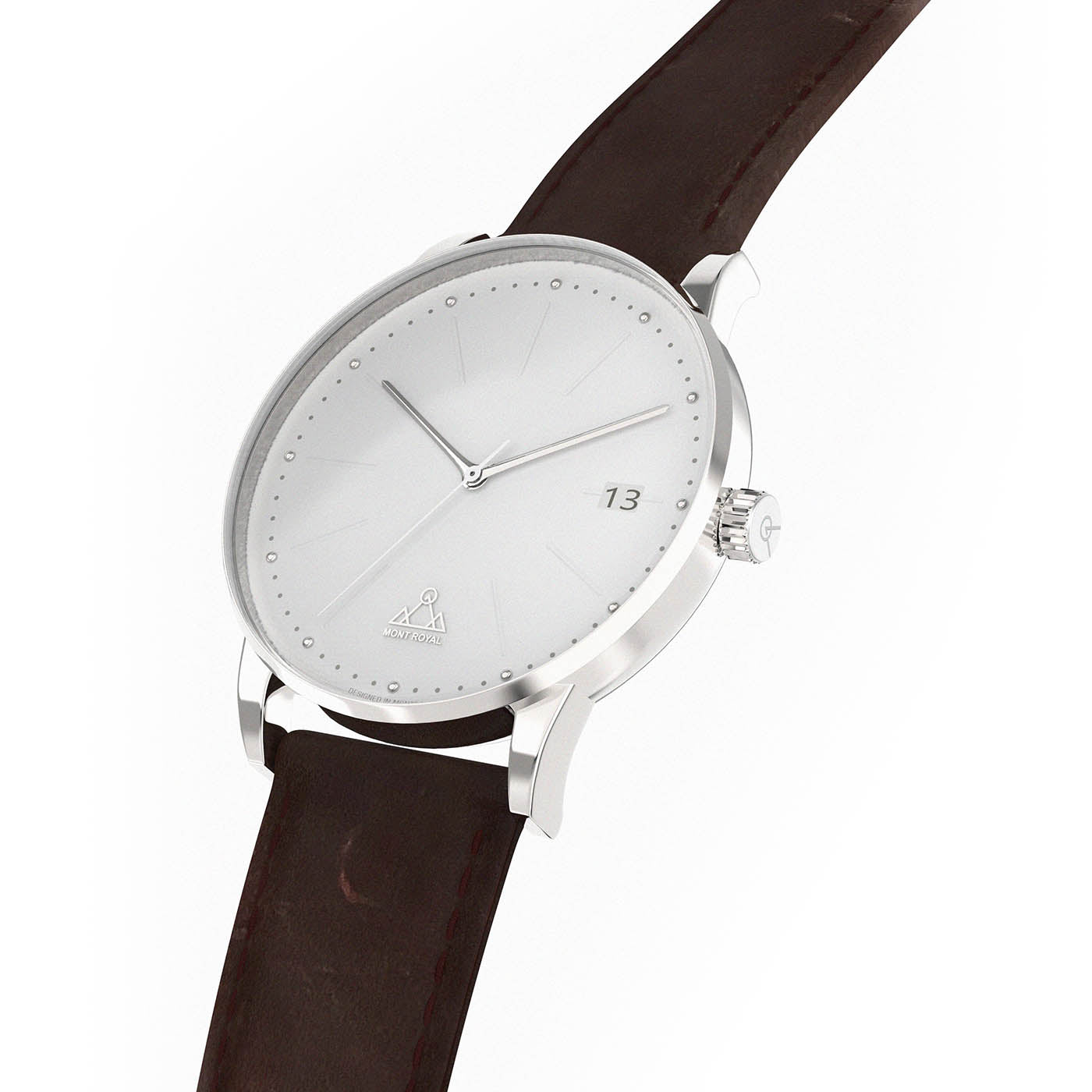 White + Brown Leather Classic Watch