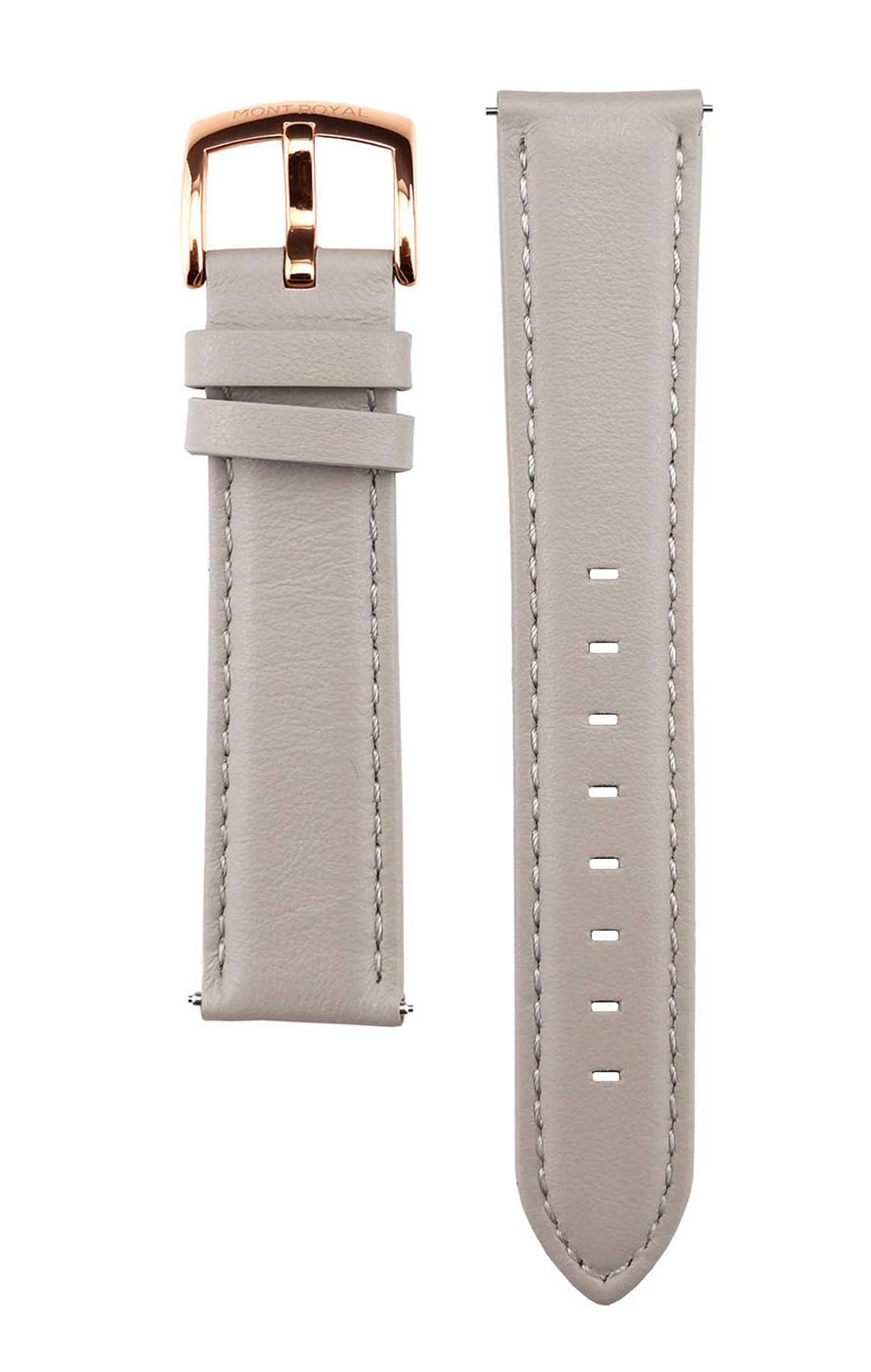 20mm Grey Leather (Rose-Gold)