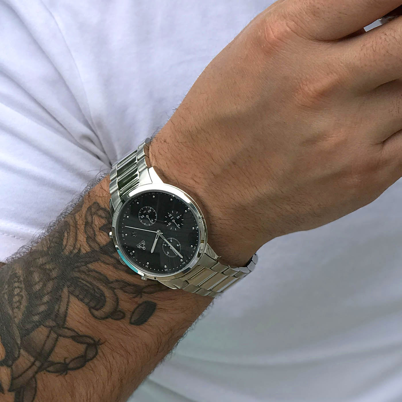 Silver-Black + Steel chronograph Watch