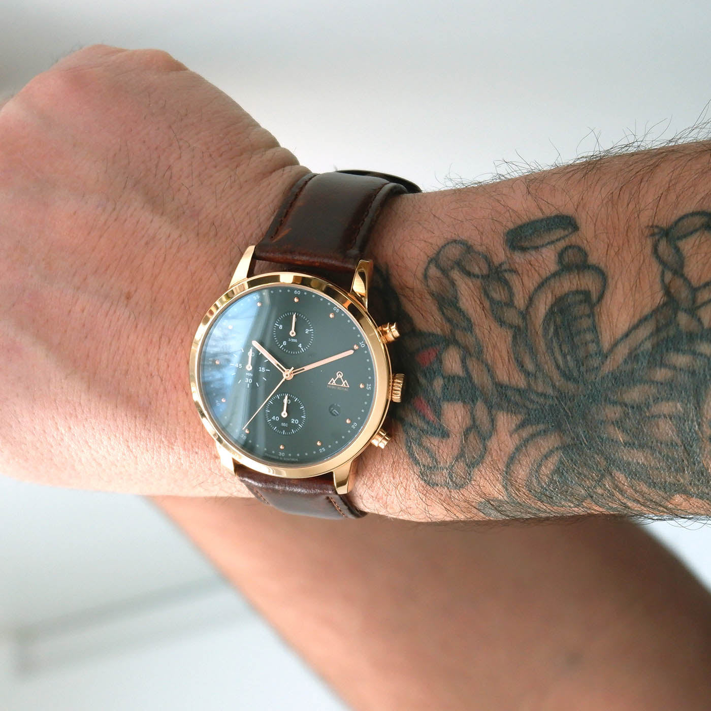 Rose-Gold + Brown Leather chronograph Watch