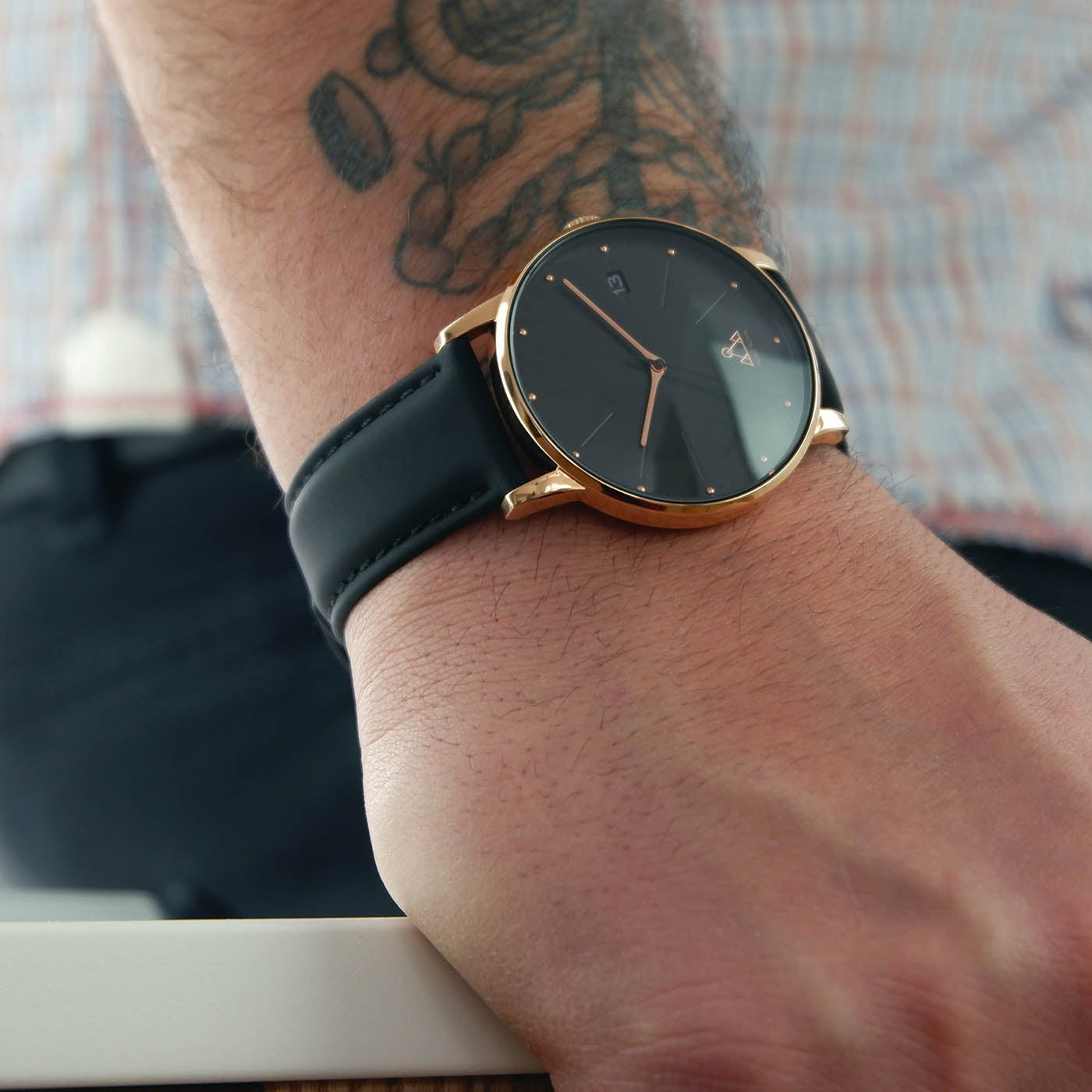 Rose-Gold Black + Black Leather Classic Watch