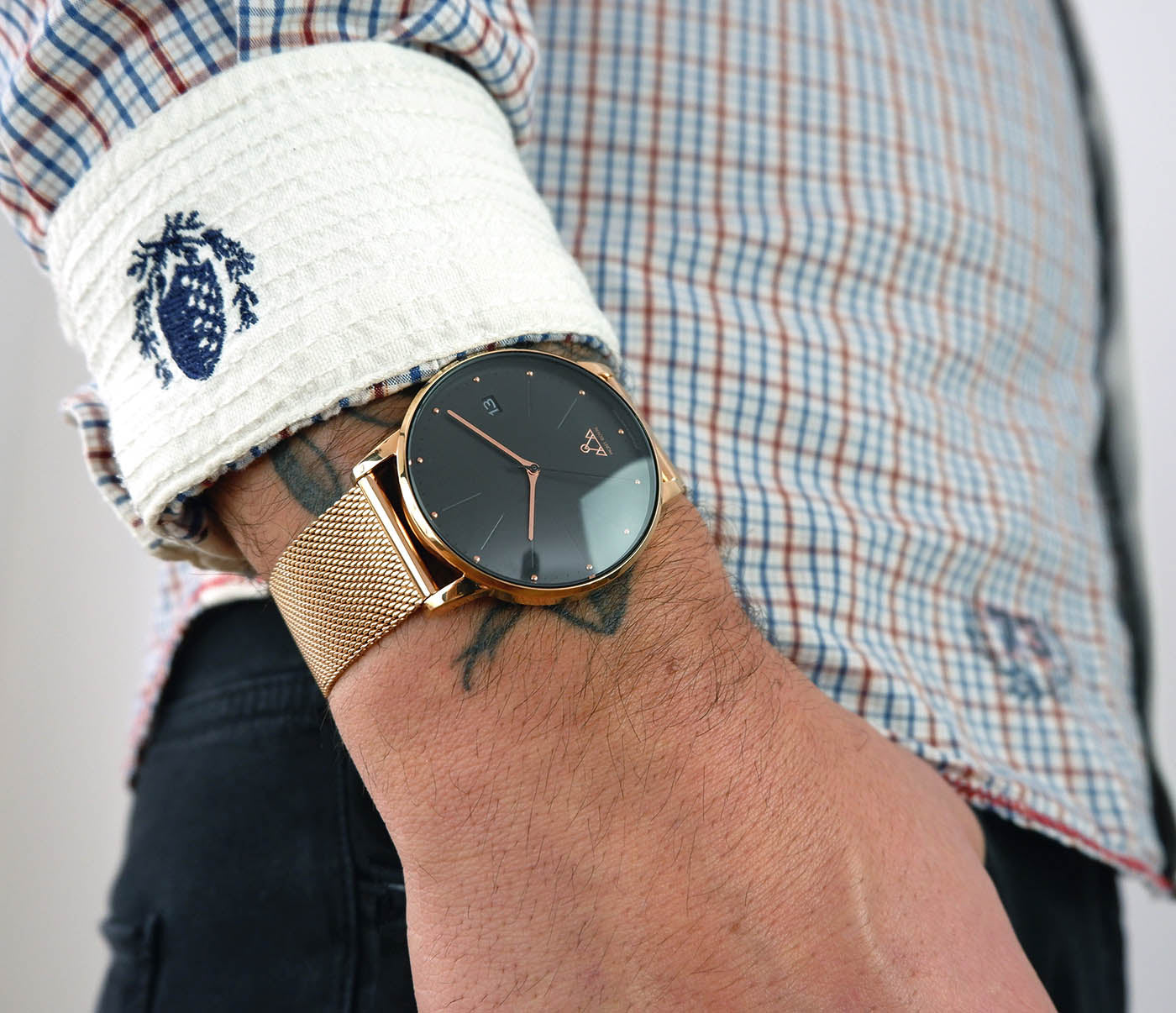 Rose-Gold Black + Steel Mesh Classic Watch