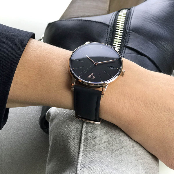 Rose-Gold Black + Black Leather Classic Chic Watch