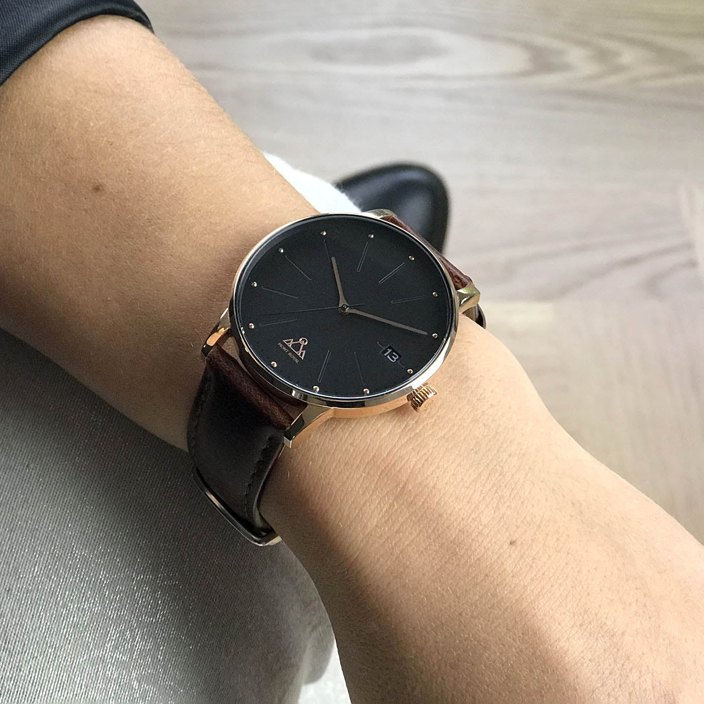 Rose-Gold Black + Brown Leather