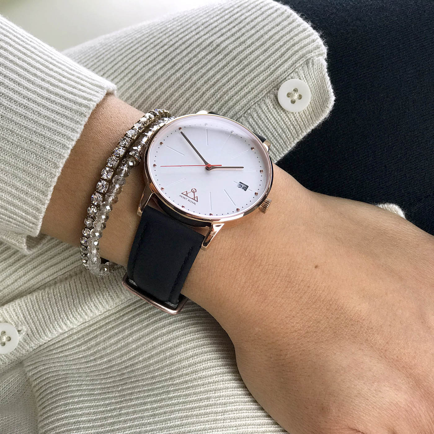 Coral + Black Leather Classic Watch
