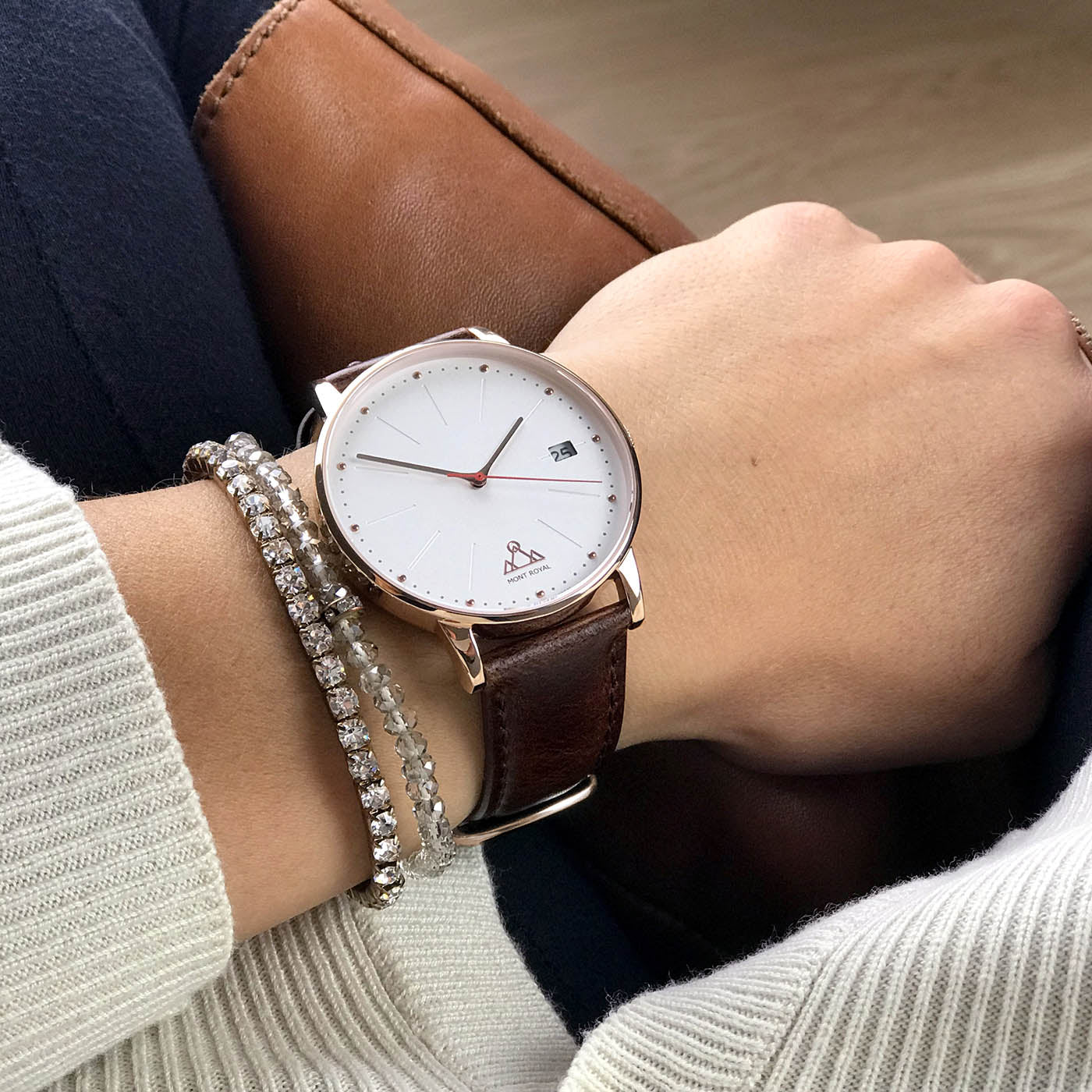 Coral + Brown Leather Classic Watch
