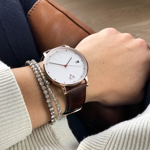 Coral + Brown Leather Classic Chic Watch