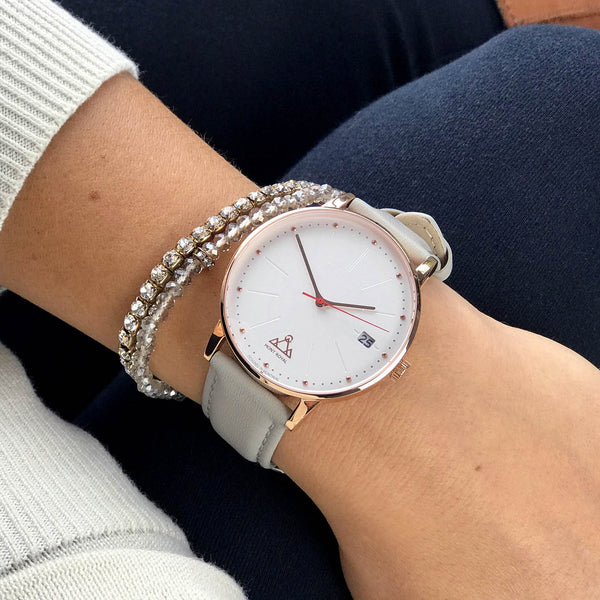 Coral + Pearl Leather Classic Chic Watch
