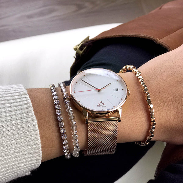 Coral + Steel Mesh Classic Chic Watch