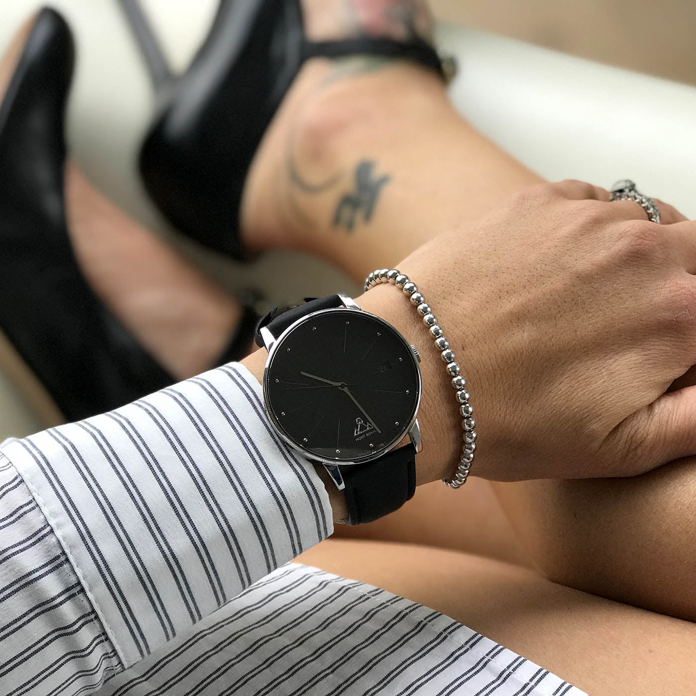 Silver + Black Leather Classic Watch