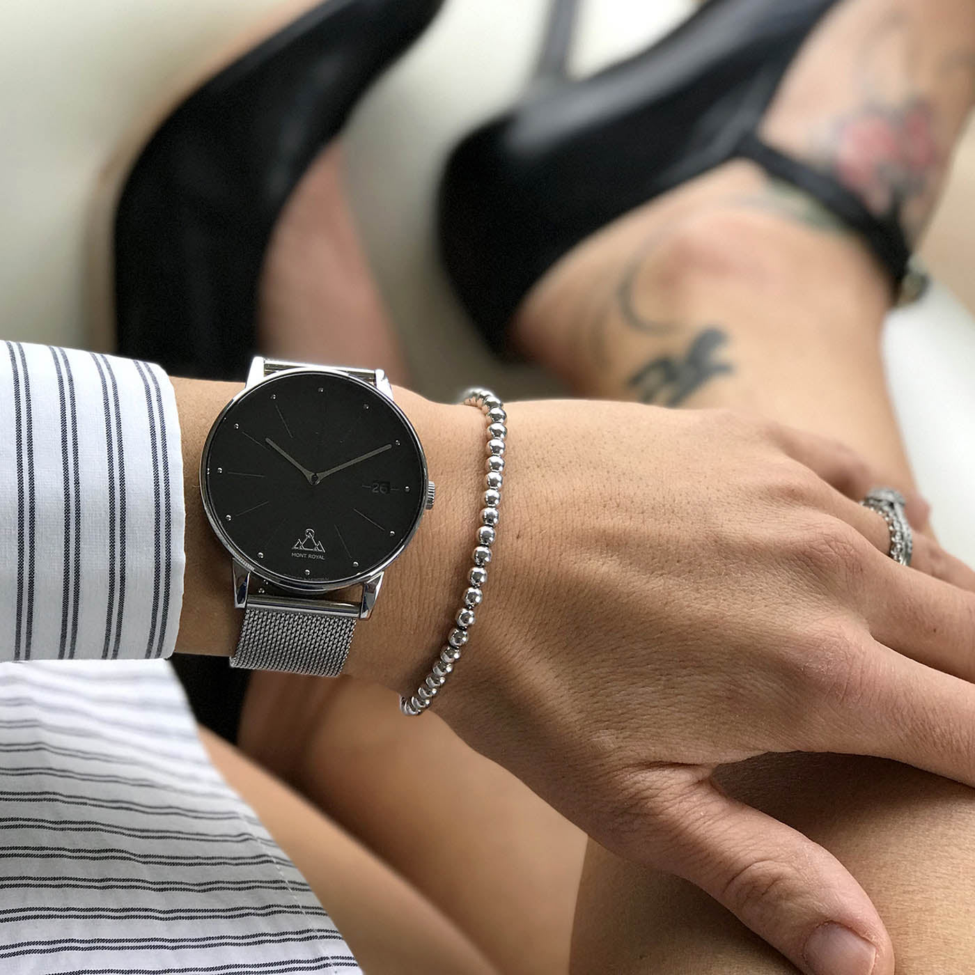 Silver + Steel Mesh Classic Watch