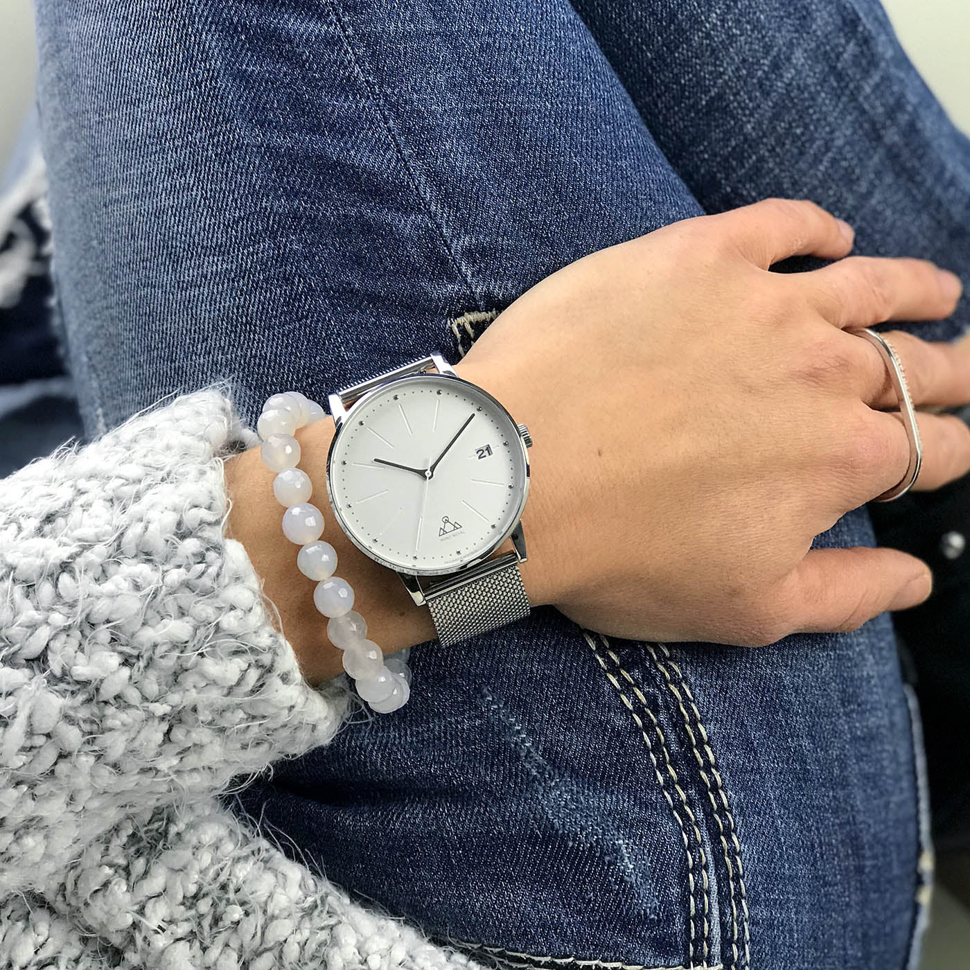 White + Steel Mesh Classic Watch