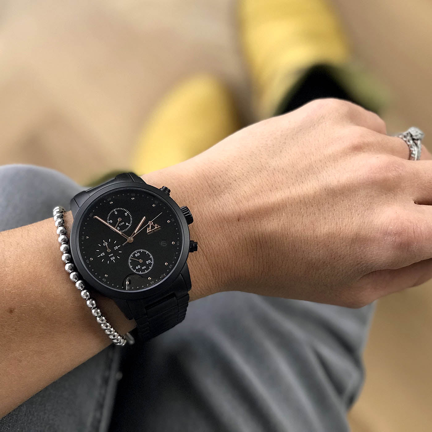 All Black + Steel chronograph Watch