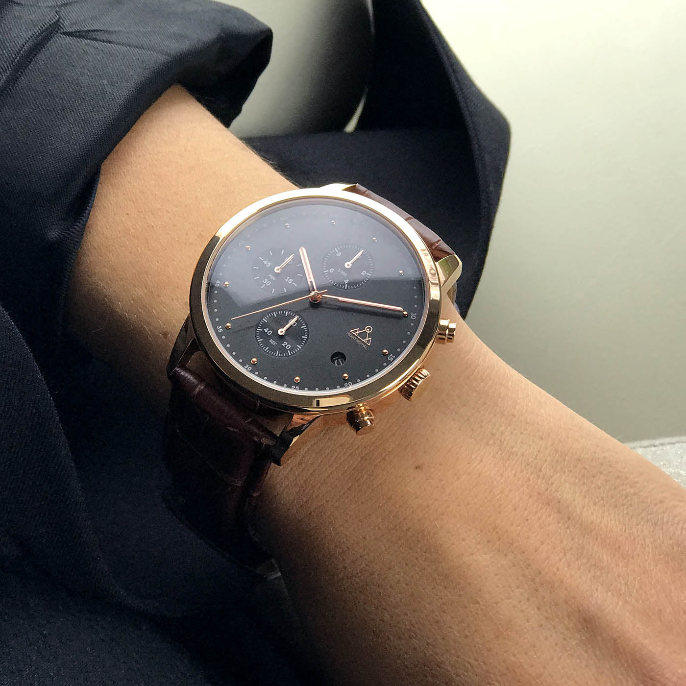 Rose-Gold + Brown Croc chronograph Watch