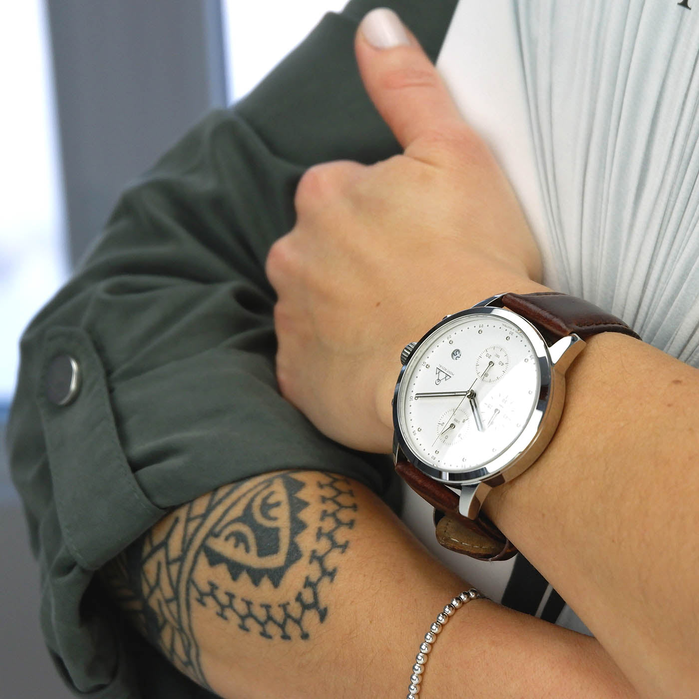 Silver-White + Brown Leather chronograph Watch