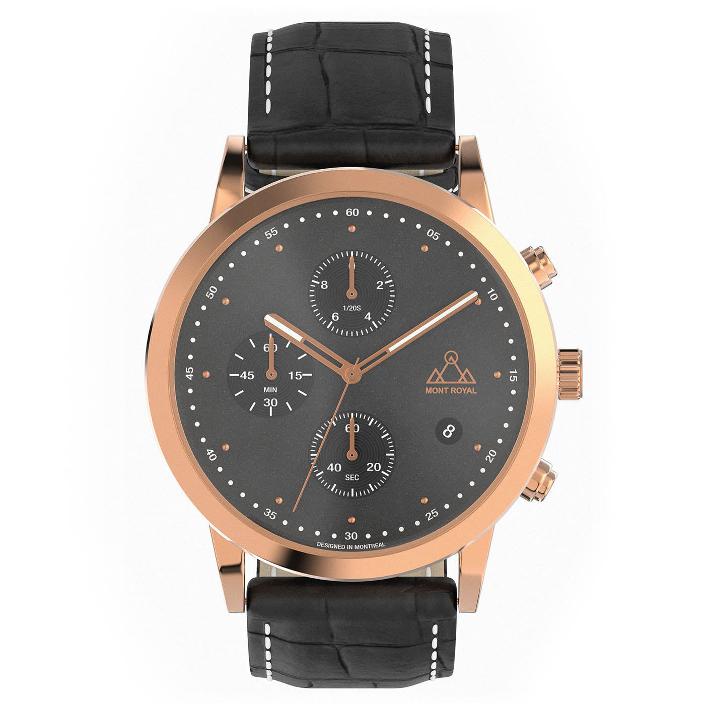 Rose-Gold + Black Croc chronograph Watch