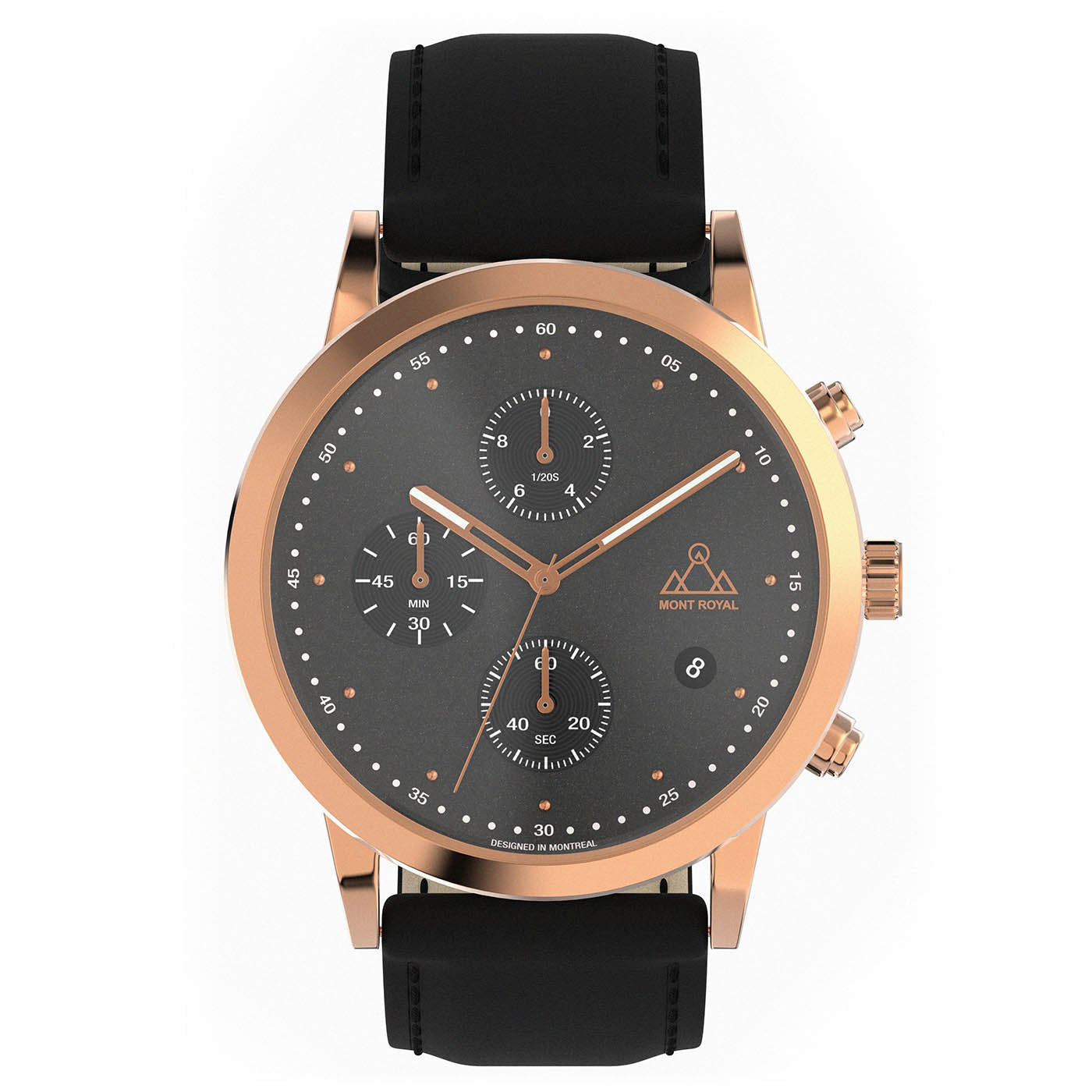 Rose-Gold + Black Leather