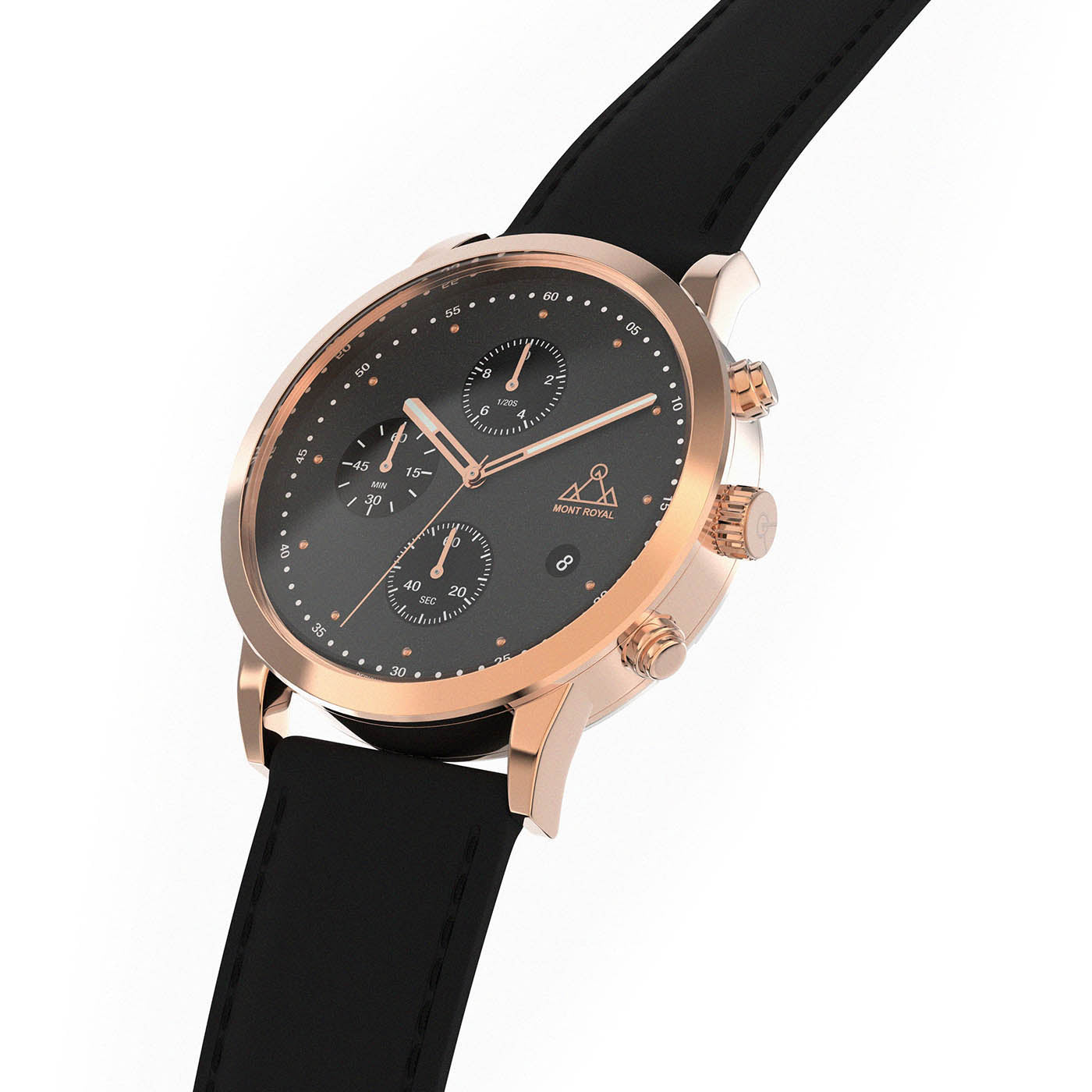 Rose-Gold + Black Leather chronograph Watch