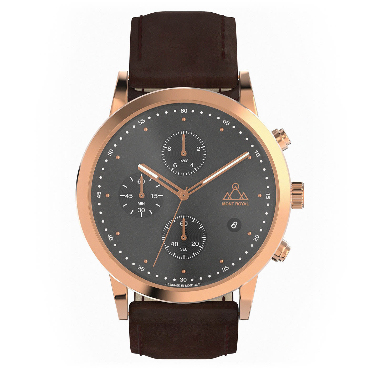Rose-Gold + Brown Leather