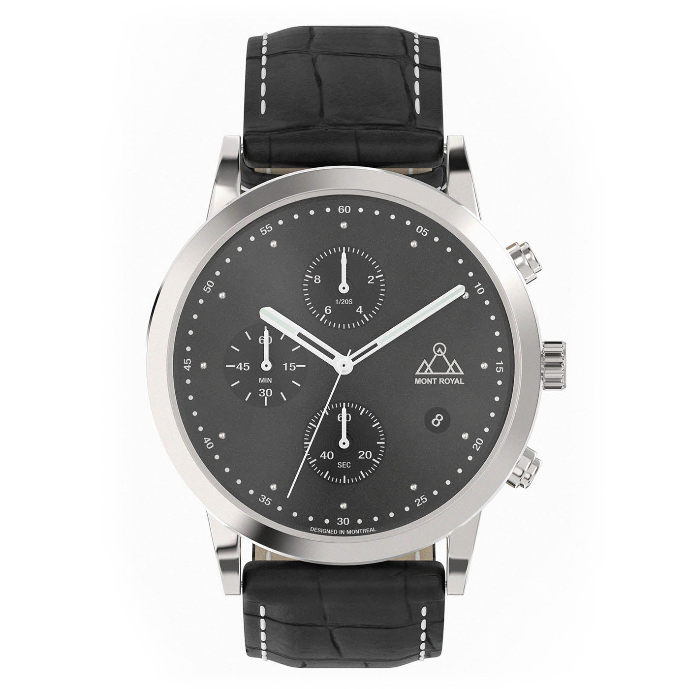 Silver-Black + Black Croc chronograph Watch