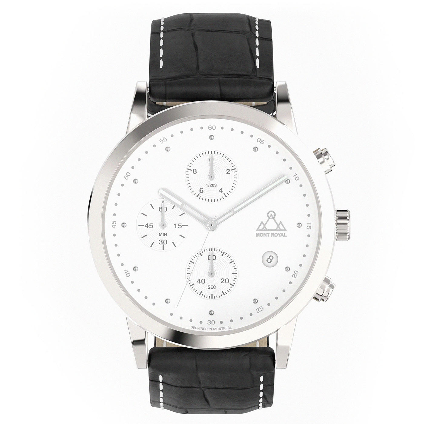 Silver-White + Black Croc chronograph Watch