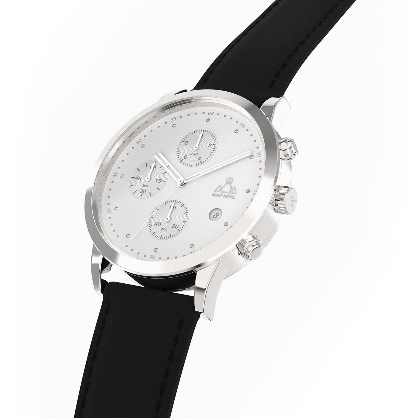 Silver-White + Black Leather chronograph Watch
