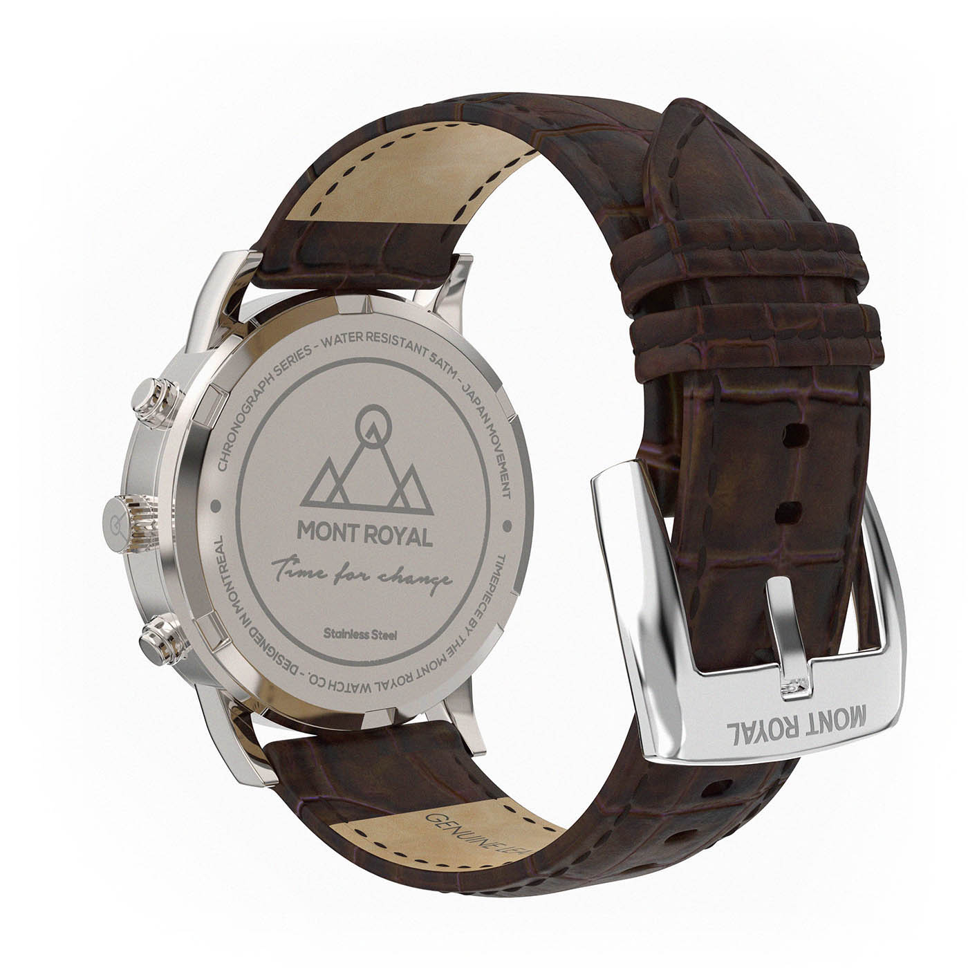 Silver-White + Brown Croc chronograph Watch