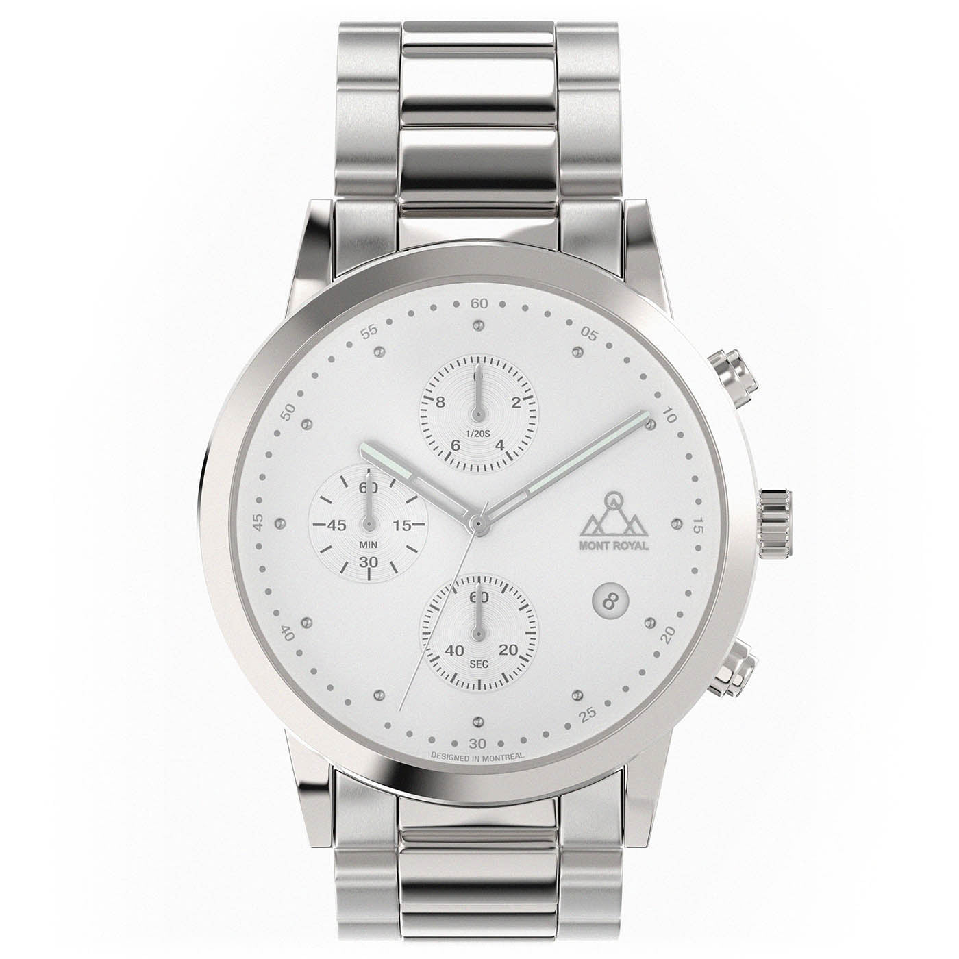 Silver-White + Steel chronograph Watch