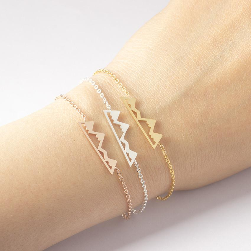 Steel Silver Mountain Hiking Bracelet Rose Gold Color Chain Hiking ...