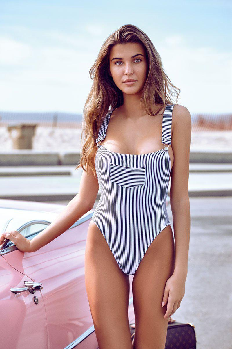 CHLOE ROSE WORK IT GIRL ONE PIECE IN RAILROAD STRIPE-One pieces-The Beach Edit