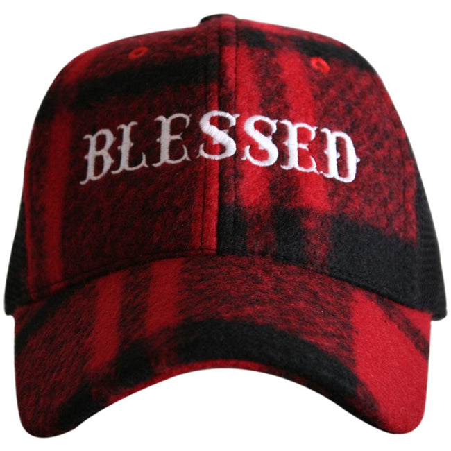 f548fda5a59e7 Blessed Red and Black Plaid Hat - Happy Heart Accessories