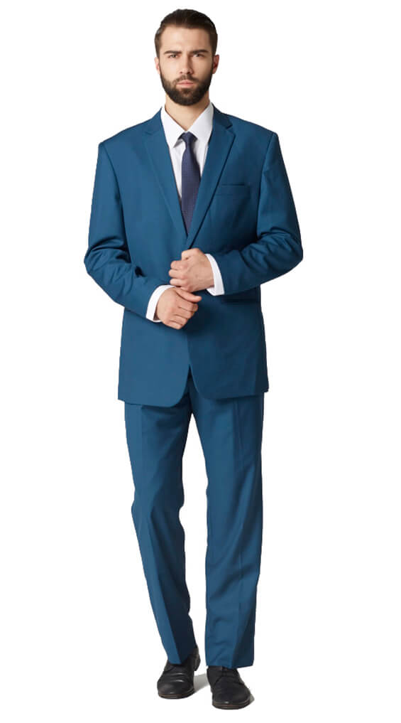 Deep teal plain suit