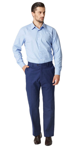 Blue melange cotton chinos