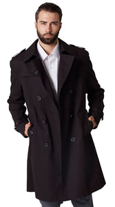 Black cotton nylon trench