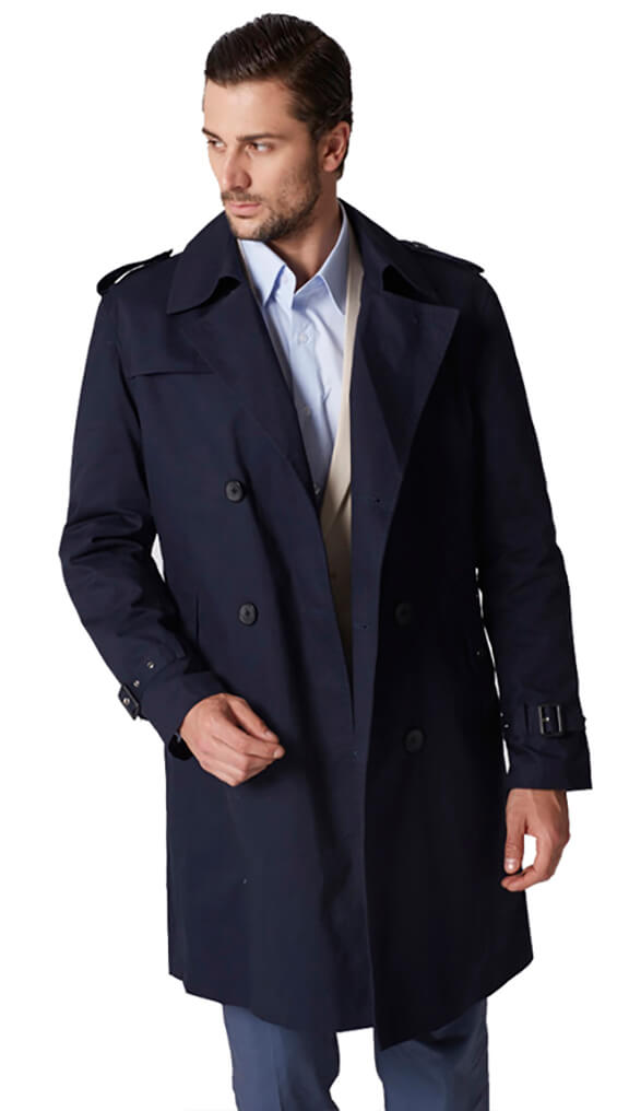 Navy cotton nylon trench