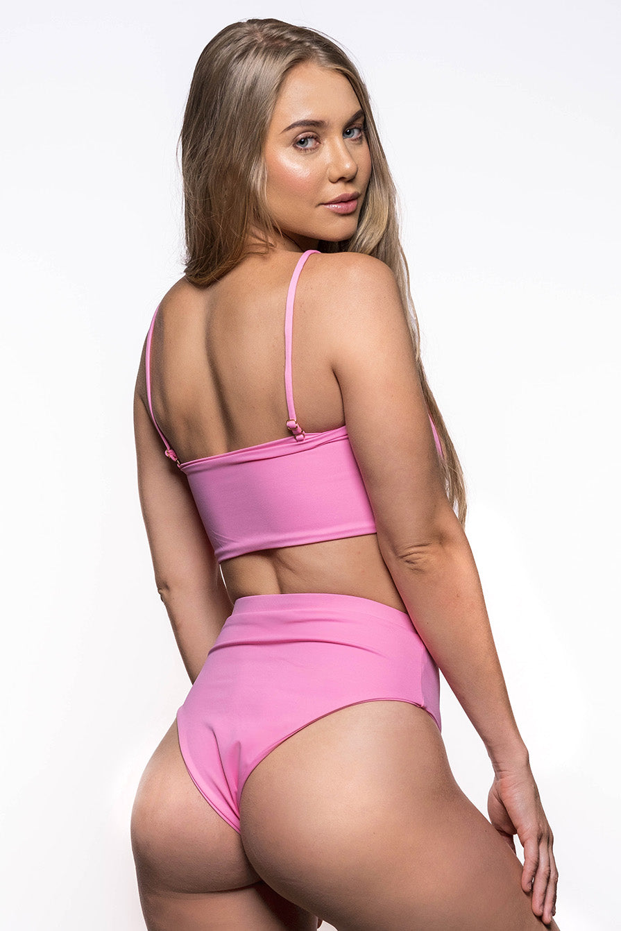 eco friendly pink high waist bikini bottoms