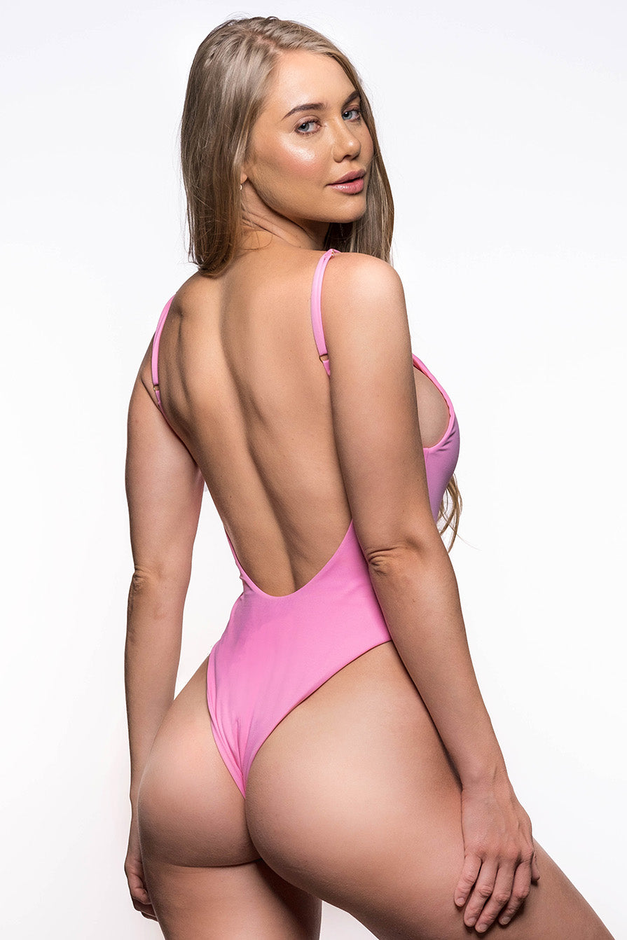 pink 80's one piece swimsuit