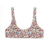 eco friendly bikini top with food print